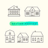 Houses set drawn black outline on a light Royalty Free Stock Images