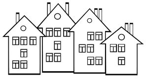 Houses set on white background Stock Image