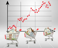 Houses in shopping carts with graphical chart Stock Photos