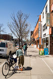 Houses and shops in Greektown in Toronto royalty free stock image