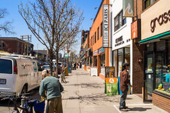 Houses and shops in Greektown in Toronto royalty free stock photos