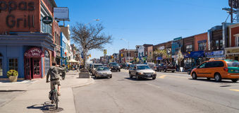 Houses and shops in Greektown in Toronto stock image