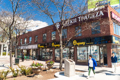 Houses and shops in Greektown in Toronto royalty free stock photo