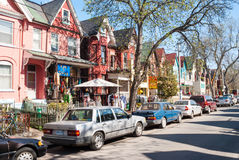 Houses and shops in Kensington in Toronto royalty free stock photos