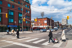 Houses and shops in Kensington in Toronto stock image