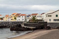 Houses on the shore of Azores island stock image