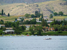Houses on the Shore of Lake Chelan Stock Photo