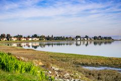 Houses on the shoreline of San Francisco bay, Redwood Shores, California stock photo