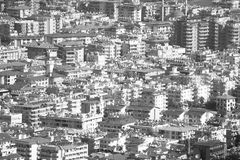 Houses shot from above. Black and white Stock Photo