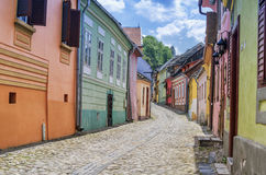 Houses in Sighisoara city, Romania stock photos