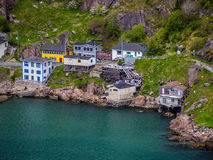 Houses by signal hill in St. John`s royalty free stock image