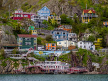 Houses by signal hill in St. John`s Royalty Free Stock Images