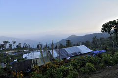 Houses of Silerygaon Village, Sikkim. Houses with flowers and green plants, at Silerygaon Village, Sikkim Royalty Free Stock Photography