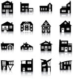 Houses. 16 silhouettes of different types of houses royalty free illustration