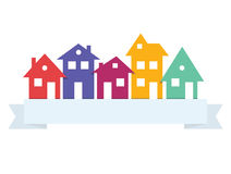 Houses silhouettes vector. Paper residential buildings logo Vector Illustration