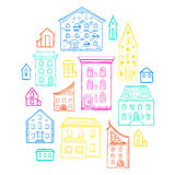 Houses Sketch Color Stock Photography