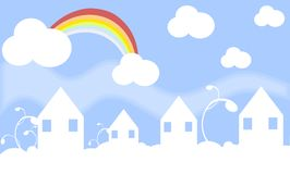 Houses in the sky Royalty Free Stock Photo