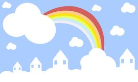 Houses in the sky with rainbow Stock Photography