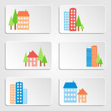 Houses and skyscrapers banners Stock Photography