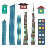 Houses and skyscrapers set stock illustration