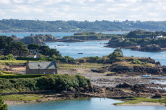 Houses and small boats on Brehat island in brittany Royalty Free Stock Images