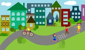 Houses, a small town, children play on the road, high-rise buildings Stock Images