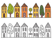 Houses in small town pattern Stock Image