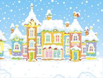 Houses of a small town on a snowy day stock illustration