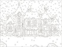 Houses of a small town on a snowy day vector illustration