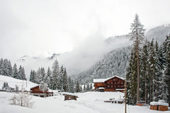 Houses in the snow, Austria Royalty Free Stock Photo