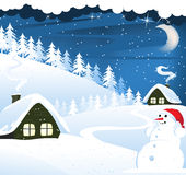 Houses and snowman. In a snow covered pine forest. Winter landscape vector illustration