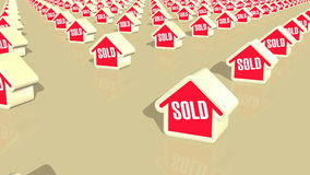 Houses Sold Loop. Computer generated animation of multiple houses which have been sold