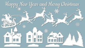 Houses, spruce, wood, sleigh, reindeer. Vector. Plotter cutting. Cliche. The image with the inscription - merry stock illustration