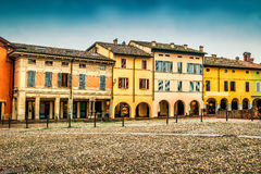 Houses on the square the medieval town of Fontanellato Royalty Free Stock Image
