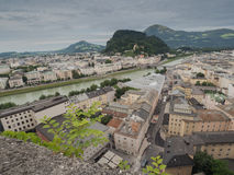 Houses standing near the river in Salzburg Royalty Free Stock Photo