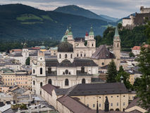 Houses standing near the river in Salzburg Stock Photography
