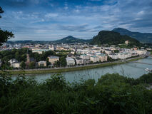 Houses standing near the river in Salzburg Royalty Free Stock Image