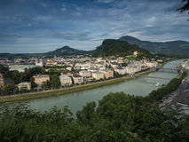 Houses standing near the river in Salzburg Stock Photo