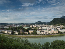 Houses standing near the river in Salzburg Stock Image