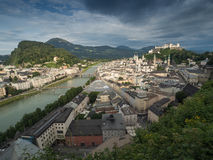 Houses standing near the river in Salzburg Royalty Free Stock Images