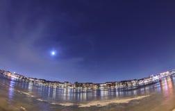 Houses on the starry sky. Copenhagen, Denmark Stock Photography