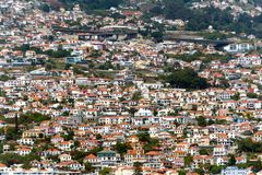 Houses on the steep slopes of the city of Funchal, capital of th Royalty Free Stock Photos