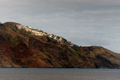 Houses on the steep slopes of the city of Funchal, capital of th Stock Images