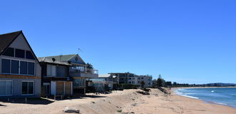 Houses still under construction at Collaroy beach. Sydney, Australia - Nov 5, 2016. Houses still under construction but Collaroy beach almost ready for summer royalty free stock image