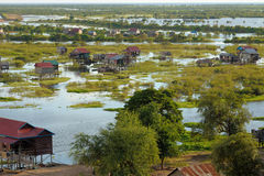 Houses on stilt Tonle Sap Lake Cambodia Stock Photo