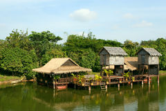 Houses on stilts.Cambodia. Royalty Free Stock Images