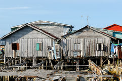 Houses on stilts in Cambodia on an island Koh Sdach. Cambodia. Koh Sdach island near the beautiful coast Botum Sakor National Park. Fisherman wood house Royalty Free Stock Photos