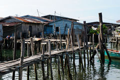 Houses on stilts in Cambodia on an island Koh Sdach. Cambodia. Koh Sdach island near the beautiful coast Botum Sakor National Park. Fisherman wood house Stock Photos