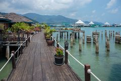 Houses on stilts in the fishing village of Bang Bao, Koh Chang,. Thailand royalty free stock image