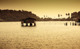 Houses on stilts in the fishing village of Bang Bao, Koh Chang, Royalty Free Stock Images